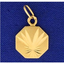 Palm Tree Frond Design Pendant in 14k Yellow Gold