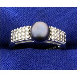 Cultured Black Pearl And Diamond Ring in 14k White Gold