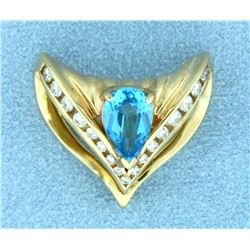 Blue Topaz and 1/2 ct TW Diamond Slide or Pendant for Omega Necklace or Chain in 14k Yellow Gold