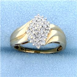 1/3ct TW Diamond Cluster Ring in 10k Yellow Gold