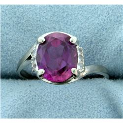 Pink Topaz and CZ Ring in 10k White Gold