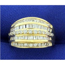 1.5ct TW Baguette and Round Diamond Ring in 10k Yellow Gold