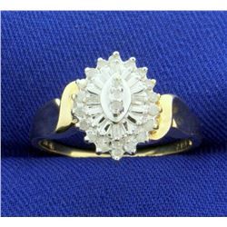 1/4 ct TW Baguette and Round Diamond Ring in 10k Yellow and White Gold
