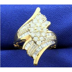 1ct TW Diamond Designer Ring with Round and Baguette Diamonds with adjustable/arthritic shank in 14k