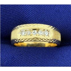 Diamond Wedding or Anniversary Band Ring With Unique Design in 14k Yellow Gold