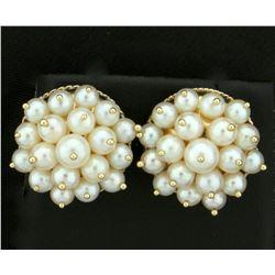 Vintage Akoya Cultured Pearl Cluster Earrings in 14k Gold
