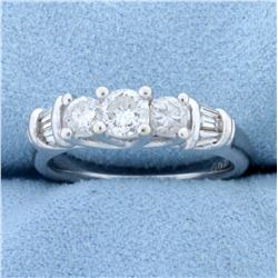 1 ct TW Round and Baguette Diamond Ring in 14k White Gold