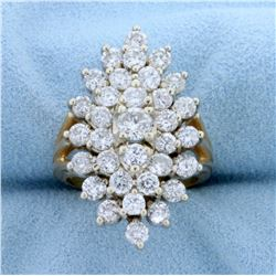 Vintage 3ct TW Diamond Cluster Ring in 14k Yellow Gold