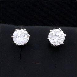 1ct TW Diamond Stud Earrings in 14k White Gold Settings