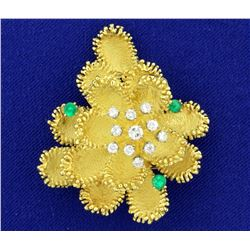Diamond and Emerald Custom Designed Designer Flower Pin in 18k Yellow Gold
