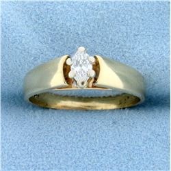Over 1/4ct Marquise Solitaire Diamond Engagement Ring in 14k Yellow Gold
