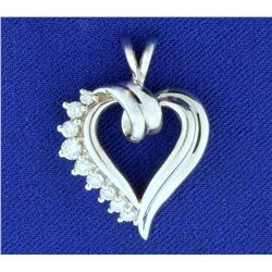 1/3ct TW Diamond Heart Pendant in 14k White Gold