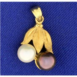 Fruit Tree Design White and Black Cultured Pearl Pendant in 14k Yellow Gold