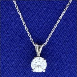 .6ct Diamond Solitaire Pendant with Chain in 14k White Gold