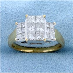 2ct TW Princess Cut Invisible Set Diamond Ring in 14k Yellow and White Gold