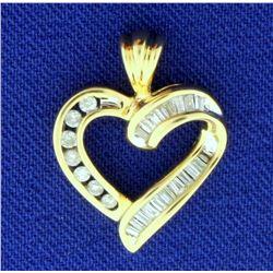1/4ct TW Diamond Heart Pendant in 14k Yellow Gold