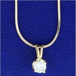 1/3ct Solitaire Diamond Pendant on 14k Gold Snake Chain