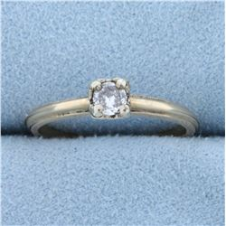 Vintage 1/5ct Solitaire Diamond Engagement Ring in 14k Yellow Gold
