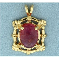 6ct Natural Pink Rubellite Pendant in 14k Yellow Gold
