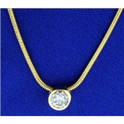 1/2ct Diamond Solitaire Pendant on Italian Made 14k Gold Snake Chain