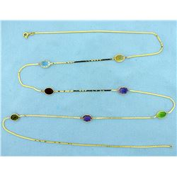 Multi Gemstone 33 inch Long Necklace in 14k Yellow Gold