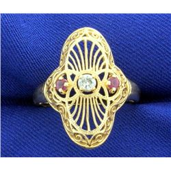 Vintage Ruby and Diamond Ring in 14k Gold