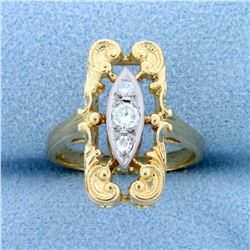 Unique Vintage 3 Stone Diamond Ring in 14k Gold