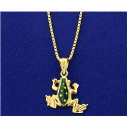 Enameled Frog Pendant on Box Link Chain in 14k Yellow Gold