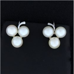 Vintage Cultured Akoya Pearl Screw back Earrings for Non Pierced Ears in 14k White Gold