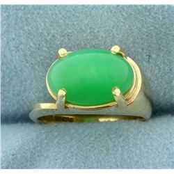 5ct Natural Jade Ring in 14k Yellow Gold