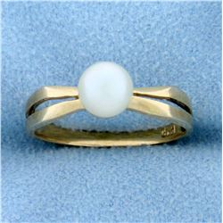 Solitaire Cultured Akoya Pearl Ring in 14k Gold
