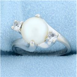Cultured Akoya Pearl and White Sapphire Ring in 14k White Gold
