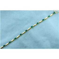 2 1/2ct TW Natural Emerald and Diamond Tennis Bracelet in 14k Gold
