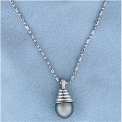 Tahitian Pearl Pendant on 16 Inch Neck Chain in 14k White Gold