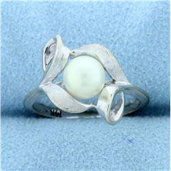Cultured Akoya Pearl Designer Ring in 14k White Gold