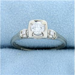 3 Stone Diamond Engagement Ring in 14k White Gold