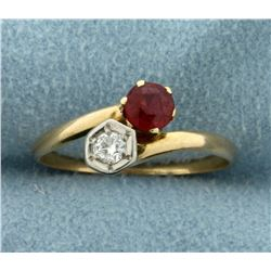 Natural Ruby and Diamond Ring in 14K Gold