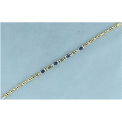Heavy Sapphire and Diamond Bracelet in 18K Yellow and White Gold