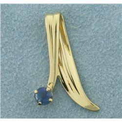 Modern Design Sapphire Slide or Pendant in 14K Yellow Gold