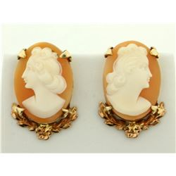 Unique Cameo Earrings in 14K Yellow and Rose Gold