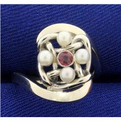 Pearl and Ruby Ring in 14K White Gold