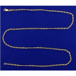 23 1/2 Inch Unique Elongated Oval Link Neck Chain in 18K Yellow Gold