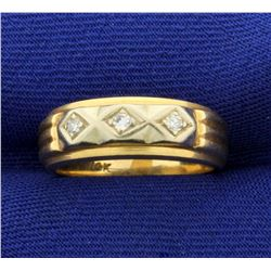 Vintage Diamond Band Ring in 14K Yellow and White Gold