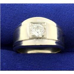 Antique Old European Cut .6ct Solitaire Diamond Ring in 14K White Gold