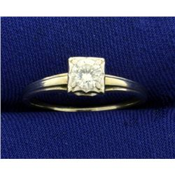 1/3ct Diamond Solitaire Engagement ring in 14K White Gold