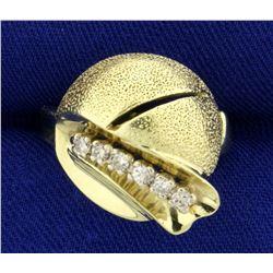 Unique Art Deco Diamond Ring in 14K Yellow Gold