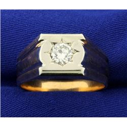 Men's 1ct Solitaire Diamond Ring in 18K White and Rose Gold