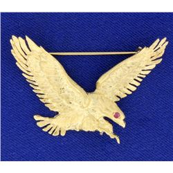 Ruby Eyed Eagle Pin in 14K Yellow Gold