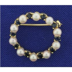 Vintage Pearl and Sapphire Circle Pin in 14K Yellow Gold