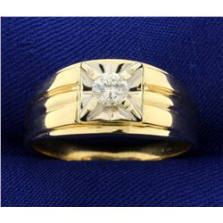 Men's Solitaire 1/3ct Diamond Ring in 14K Yellow and White Gold